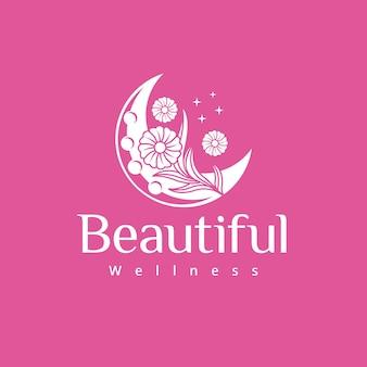 Moon and flowers wellness logo design