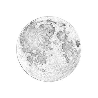 Полная фаза луны, стиль эскиза иллюстрации, изображение полной луны на белом фоне.