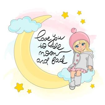 Moon girl color vector illustration set