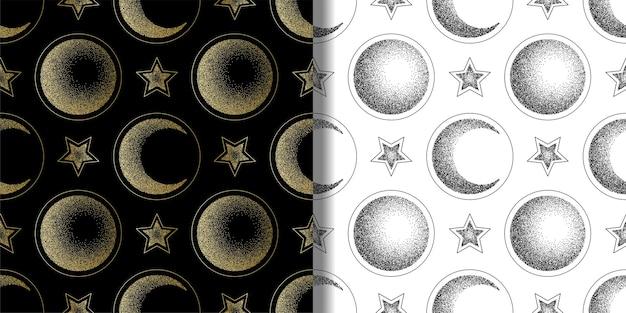달 반달과 별 원활한 패턴 세트