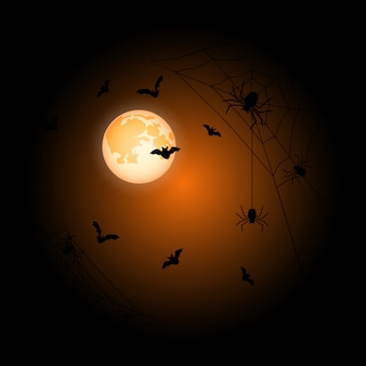 Moon halloween orange background