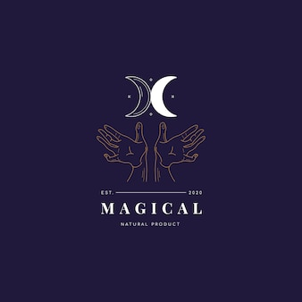Moon and hand magic logo