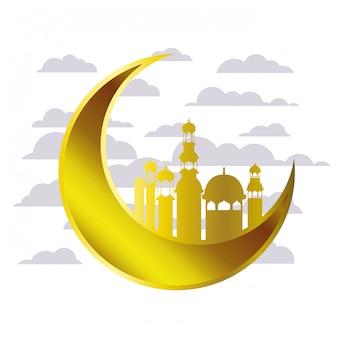 Moon hanging with ramadan kareem mosque buildings