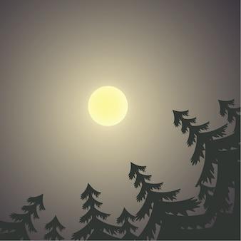 Луна в небе, окруженная сосновыми деревьями в темной ночи, векторная иллюстрация
