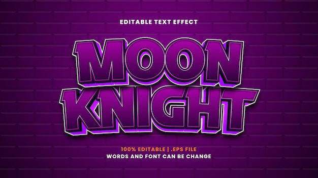 Moon knight editable text effect in modern 3d style
