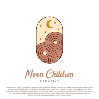 Moon logo creative moon star and circle icon vector on capsule background