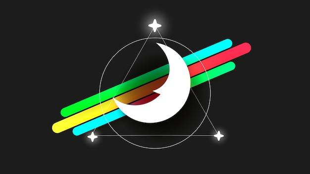 Логотип луны в стиле линии искусства на темном фоне. абстрактный узор. векторная иллюстрация рисованной. простой вектор черный символ. логотип луны, значок вектора луны. символ ночи.