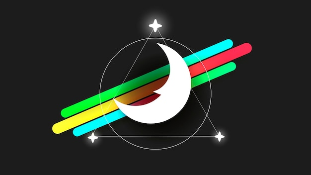 Moon logo in the style of the line art on a dark background. abstract pattern. vector illustration of hand drawn. simple vector black symbol. moon logo, moon vector icon. the symbol of the night.