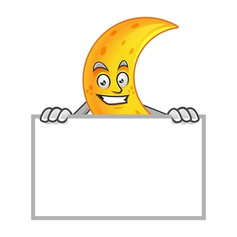 Moon mascot with blank sign, moon character