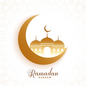 Moon and mosque ramadan kareem festival background