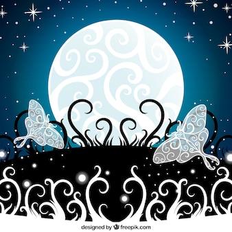 Luna ornamentali sfondo con le farfalle