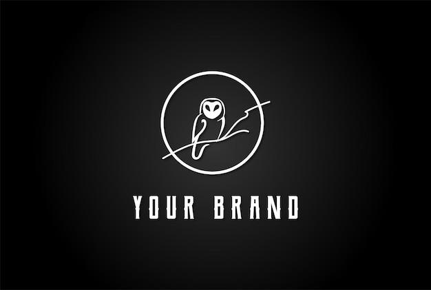 Луна сова темная ночь дизайн логотипа вектор