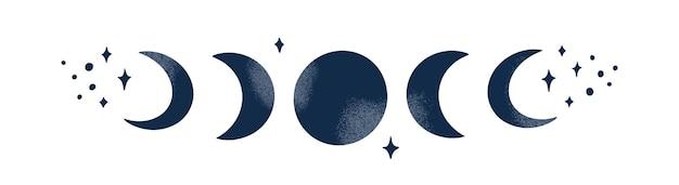 Фаза луны абстрактный современный дизайн с полумесяцем звездами небесная мистическая концепция гранж-текстуры