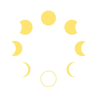 Moon phase change month cycle icon moon calendar graphical yellow form of transformation of moon