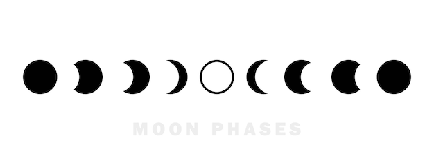 Moon phases astronomy icon set. the whole cycle from new moon to full moon. night space astronomy concept. vector eps 10. isolated on background