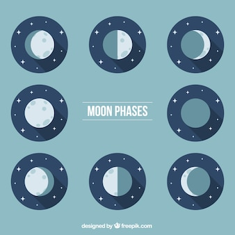Moon phases in blue tones