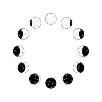 Moon phases icon circular set in black outline silhouette whole astronomy cycle from new moon to ful...