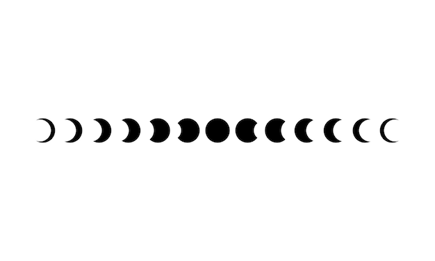 Значок фаз луны установлен в черный цвет. астрономия. космос. затмение. вектор на изолированном белом фоне. eps 10.