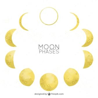 Фазы луны в акварельный эффект