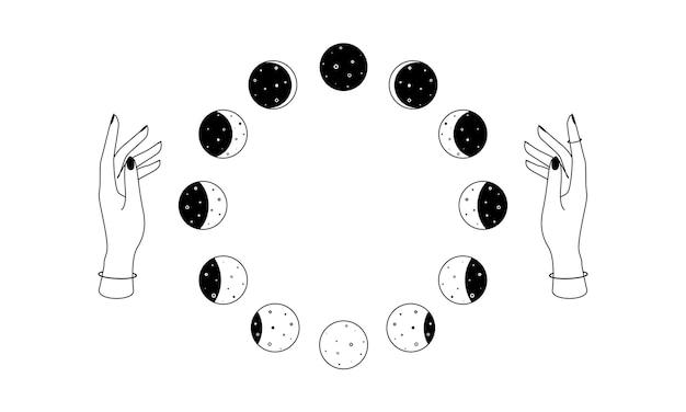 女性の手の上の月の満ち欠けは、ボヘミアン天体の円形のシンボルの精神的なオカルトオブジェクトを概説します...