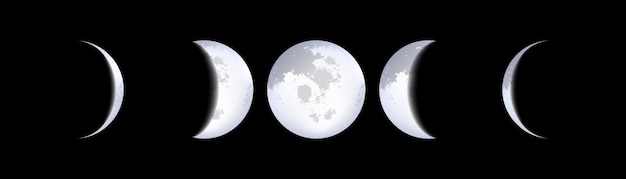 Moon phases schemes, lunar calendar, moonlight.