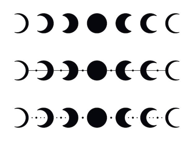 Силуэты фаз луны со звездами. черный полумесяц иконы. ночная космическая астрономия. лунное затмение. векторные иллюстрации, изолированные на белом фоне.