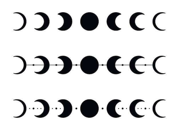 Moon phases silhouettes with stars. black crescent icons. night space astronomy. lunar eclipse. vector illustration isolated on a white background.