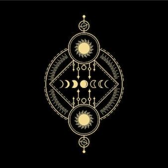 문 단계 스타 크리스탈 태양 파동과 영적 지도 타로 카드 리더를 위한 신성한 기하학