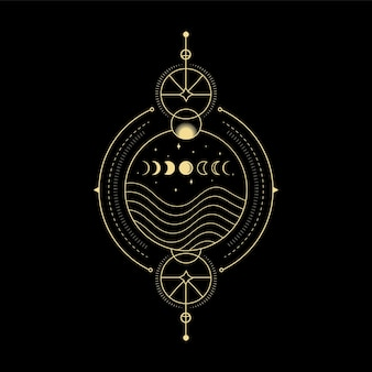Moon phases star crystal sun wave and sacred geometry for spiritual guidance tarot card reader