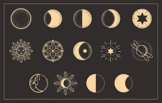 Moon phases universe astrology set