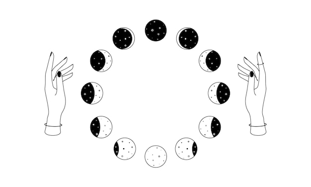 Moon phases over woman hands outline bohemian celestial circular symbol spiritual occultism object i...