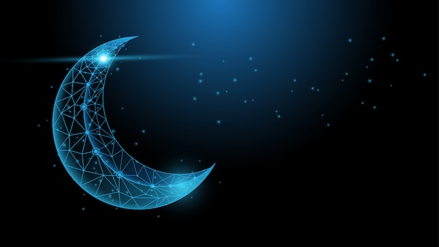 The moon polygonal wireframe with night sky abstract background