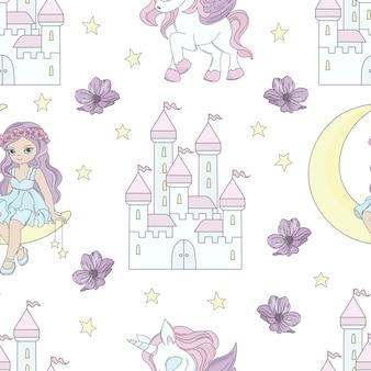 Moon princess fairy tale seamless pattern