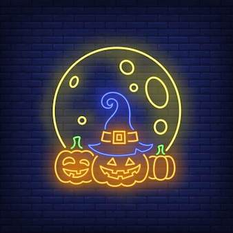 Moon and pumpkins neon sign