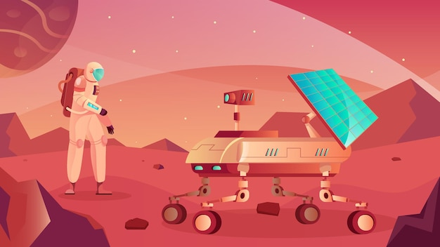 Composizione piana nel rover lunare con vista della superficie planetaria con veicolo lunare itinerante e illustrazione del personaggio dell'astronauta