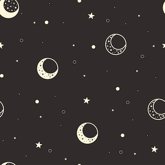 Moon seamless pattern. celestial black background. yellow crescent moon and stars cover. luna phase. vector illustration.