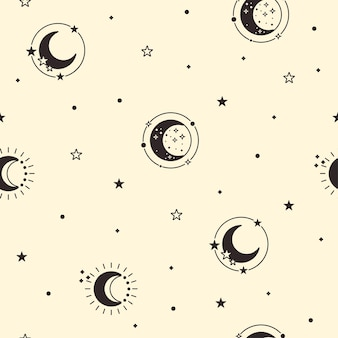 Moon seamless pattern. celestial yellow background. black crescent moon and stars cover. luna phase. vector illustration.