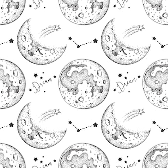Moon seamless pattern with stars
