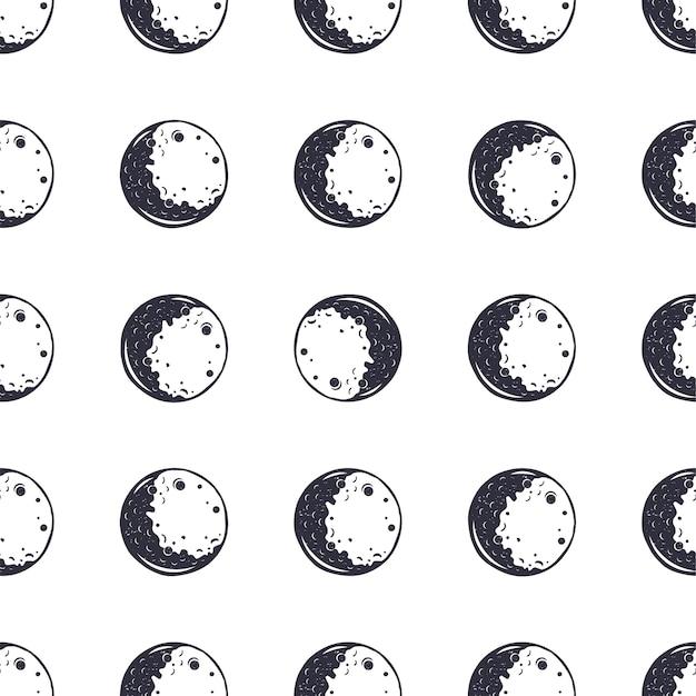 月のシームレスなパターン。