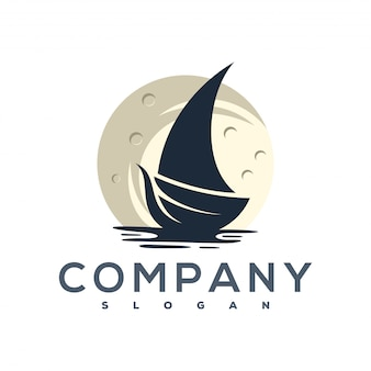 Moon and ship logo