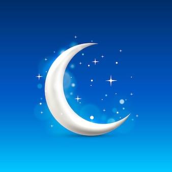 Значок знака луны на фоне ночного неба. векторная иллюстрация