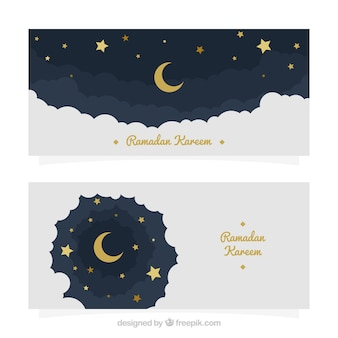Moon sky banners and stars of ramadan kareem