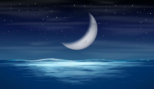A moon on sky