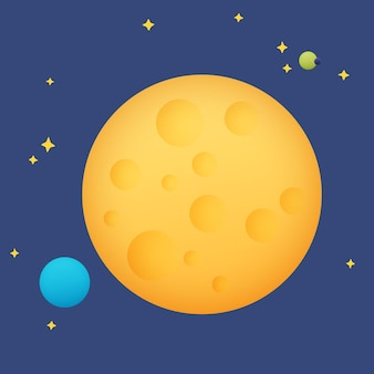Moon in space among the stars and planets, vector illustration