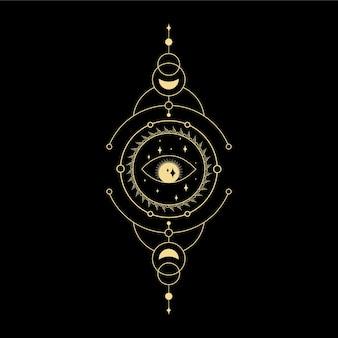 Moon star crystal sun wave and sacred geometry for spiritual guidance tarot card reader tattoo