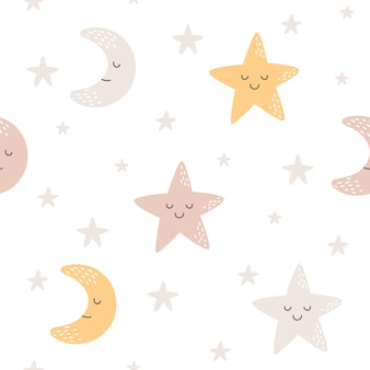 Moon and star seamless pattern