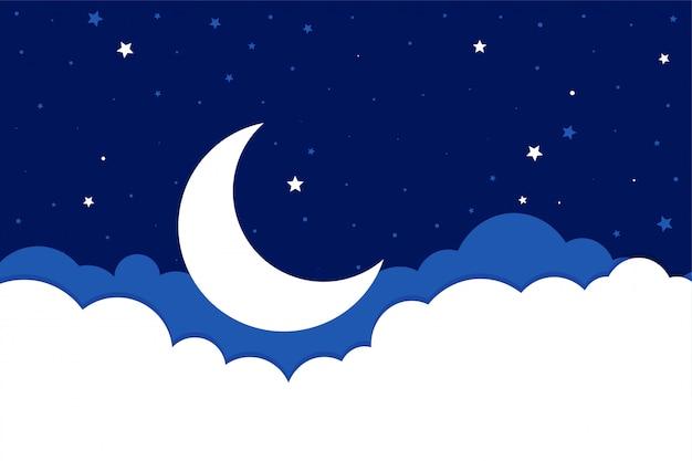 フラットスタイルの月の星と雲の背景