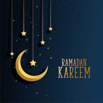 Moon and stars ramadan kareem background