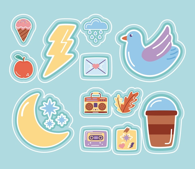Moon and stars with set stickers flat style icons.