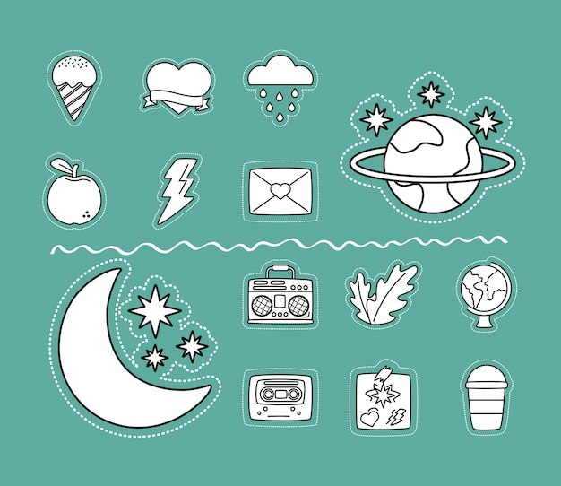 Moon and stars with set stickers line style icons.